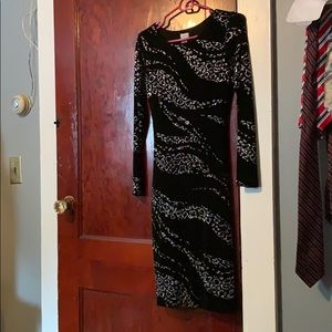Cache black & sparkle silver cheetah dress